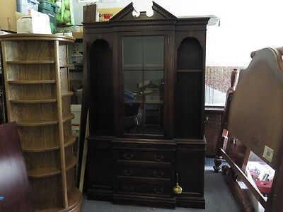 Beacon Hill Collection China Cabinet Cupboard Dark Wood w. Locking Glass Doors