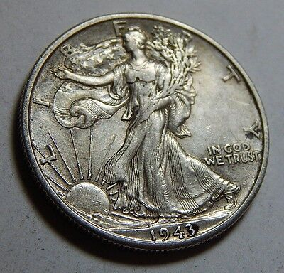 1943-D 50C Silver Walking Liberty Half Dollar Coin - WWII Coinage