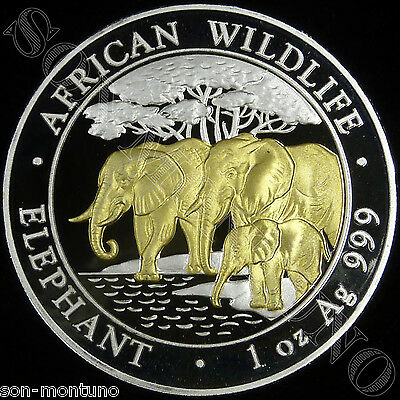 2013 SOMALIA ELEPHANT GILDED IN 24K GOLD 1 Oz .999 Silver African Wildlife Coin