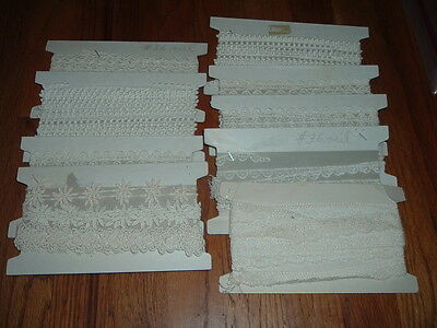 Lg Lot Vintage Lace NOS Still On Cards Cotton Off White Cream Variety Trimmings