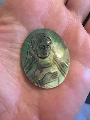 Religious Mother Of Pearl Madonna Carving