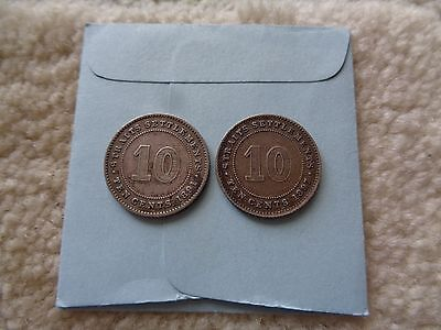 1891 and 1897 Straits Settlements 10 Cents 2 Silver coins