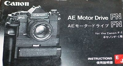 CANON CAMERA AE MOTOR DRIVE FN INSTRUCTION MANUAL-for CANON NEW F-1 CAMERAS-1981