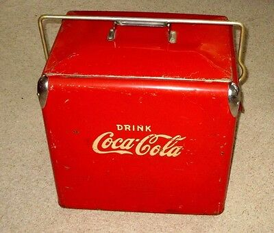"Vintage Coca-Cola Picnic Chest Cooler-17""-Action Mfg-Side Bottle Opener-Sign"