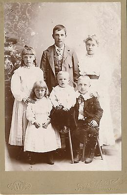 1880-89 Six ID'd Children, Sisters & Brothers, Tracy MN Sepia Cabinet Photograph