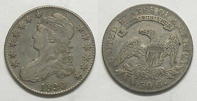X285  1830 Capped Bust Half Dollar, VF, Large 0