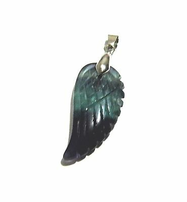 Fluorite Gemstone Crystal Angel Wing Feather Silver Plated Pendant