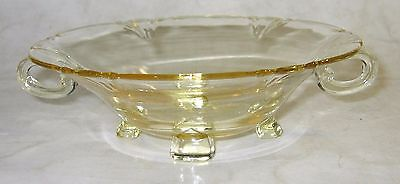 Vintage HEISEY GLASS Gold 2-Handled 4-Footed Nut/Candy Dish