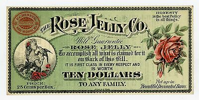 """""""$10"""" The Rose Jelly Co. - New Midway, MARYLAND Advertising Note AU/UNC"""