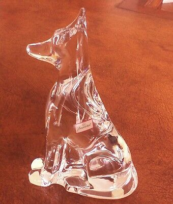 Baccarat Crystal Tall Seated Dog