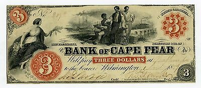 1859 $3 The Bank of Cape Fear - Wilmington, NORTH CAROLINA Note