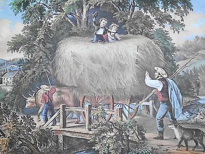Vintage Currier & Ives' America Print Haying Time The Last Load Cows Farm