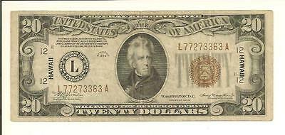 1934 $20 Hawaii Brown Seal Note  L 7727 3363 A ... Unique Note