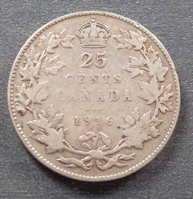 1916 Canada George V Silver 25 Cents
