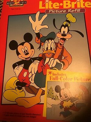 Vintage Lite Brite Picture Refill Disney Mickey And Friends 12 Full Color Pics