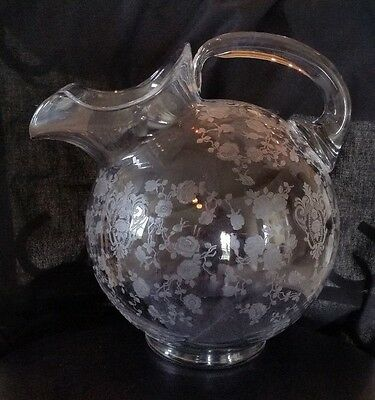Vintage Cambridge Rose Point Etched Glass Ball Pitcher