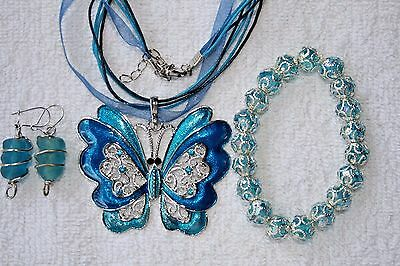 jewelry set AQUA Cloisonne Butterfly pendant bracelet earrings silver tone