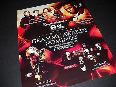 THE KILLERS Jay-Z SLIPKNOT Ludacris 2005 Grammy Noms PROMO DISPLAY AD mint