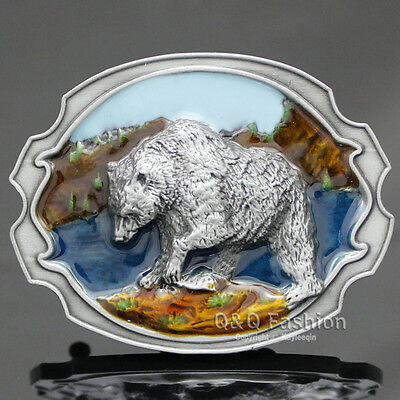 Western Cowboy Silver 3D Bear Grizzly Hopi Indian Navajo Rodeo Belt Buckle