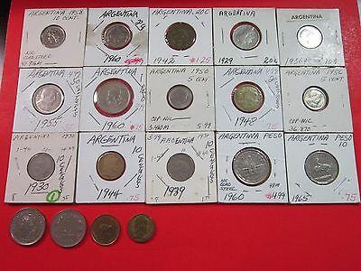 Argentina. Vintage Lot Of 19 Assorted Coins. Circulated To Nucirculated See Pics