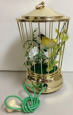 1960/70S Vintage Bird In Cage Working Sound Chirping Moving White Flowers Cute M
