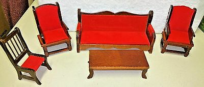 Vintage Doll House Miniatures, 5-Piece Living Room Set w/Red Upholstery, VGUC