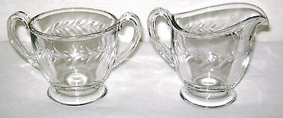Vintage 1942-1980 Fostoria Glass Holly Pattern Creamer Pitcher & Sugar