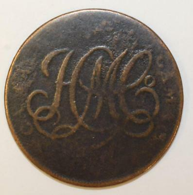1792 CAMAC KYAN & CAMAC Half penny 6 Harp Strings PE blacksmith 5.68 grams
