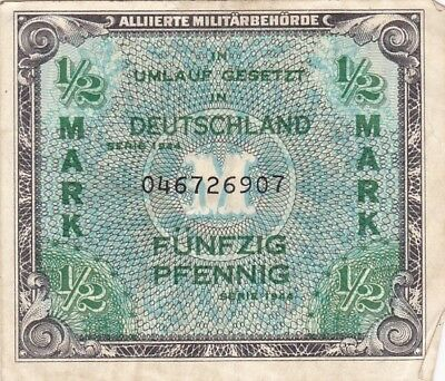 1944 Germany 1/2 Mark Allied Military Currency Note, Pick 191a