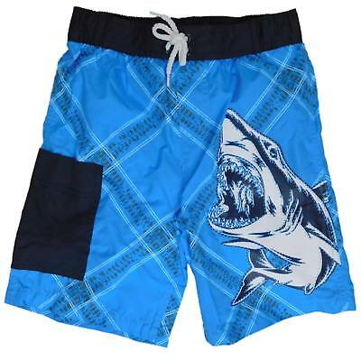 59a62bf1af BOYS BLACK & Blue Surfing Shark Flame Panels Swim Trunks Board ...