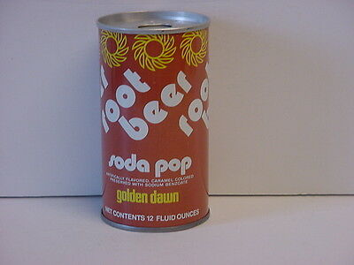 Vintage Golden Dawn Root Beer Straight Steel Pull Tab Bottom Opened Soda Can