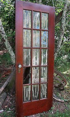 Vintage Antique 15-Pane Glass Door Orig. Hardware, Glass Knobs & Art Deco Plates