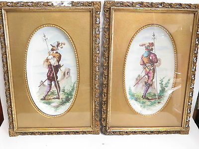 * Vintage Pair Of English Hand Painted Porcelain Ceramic Plaques Framed *
