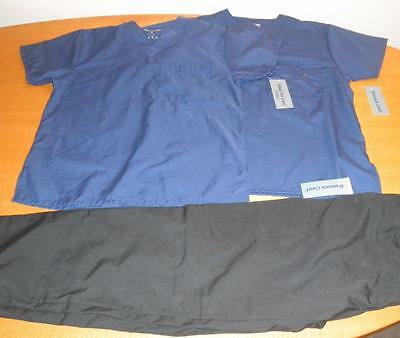Lot New Scrub Blue tops Medical Uniform Shirts & 1 Black Pants Bottoms Unisex XS