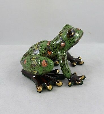 Old Tupton Ware Glazed Ceramic Green Decorated  Jungle Frog Figurine TW2828