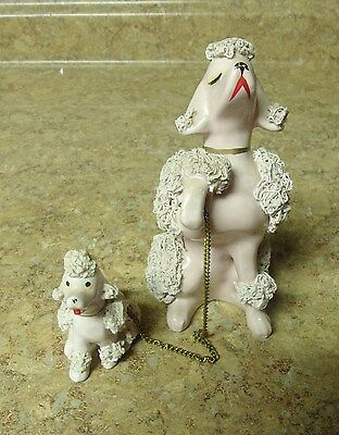 """VINTAGE  5""""  Pink SPAGHETTI POODLE w/ 2 1/2"""" puppy on chain Japan"""