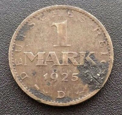 Germany 1 Mark 1925 D Silver Weimar Republic