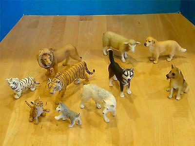 10 SCHLEICH ANIMALS--Wild & Domestic ~ Tigers Lion WHITE WOLF Dogs Sheep & More