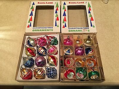 24 Vintage Poland Santa Land Mica Mercury Glass Christmas Ornament 2 Boxes