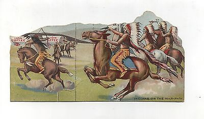 Antique Victorian Trade Card Lion Coffee Paper Toy Native American Indians War