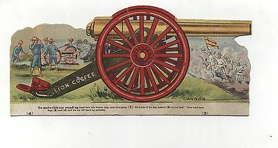 Antique Victorian Trade Card Lion Coffee Paper Toy Cannon Military War