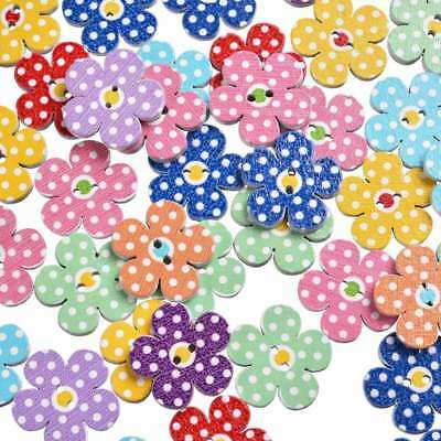 50Pcs Sweet Flower Wood Button 2 Holes Mixed Color Sewing DIY Crafts 19*19mm