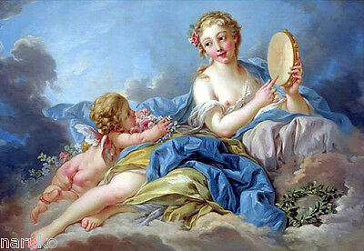 18th -19thC O/P NUDE WOMAN & PUTTI IN SKY - PAINTING has CRADLING ON VERSO