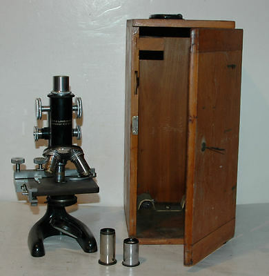 Vintage Bausch & Lomb1933 Microscope, One Int. 0.0025mm w/Original Wood Case