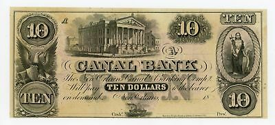 1800's $10 The Canal Bank - New Orleans, LOUISIANA Note CU