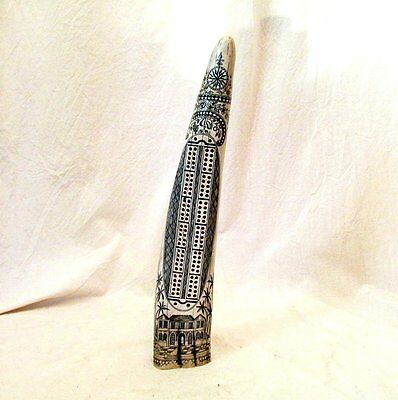 Scrimshaw Walrus Tusk Cribbage Board Replica Compass Rose Mansion Pineapple