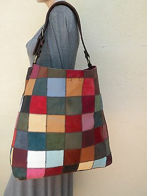 Lucky Brand Leather Patchworks X-Large Tote Hobo Bag Purse