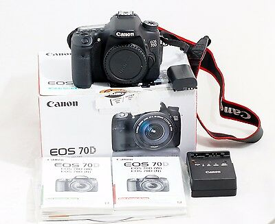 Canon EOS 70D 20.2MP Digital SLR Camera Black Body Only 2K Shutter Count