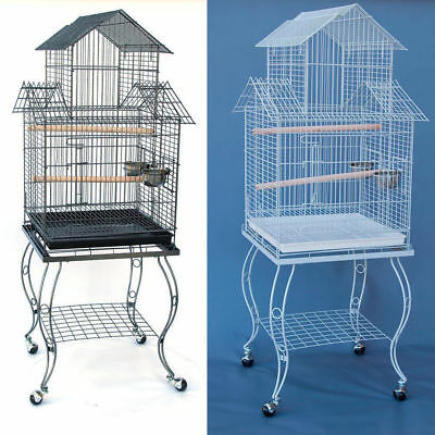 Pagoda Bird Parrot Cage with Stand Cockatiel Amazon African Grey Caique Conure