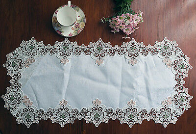 Elegant Water Soluble Dissolving Embroidered Lace Table Runner 40x86CM White